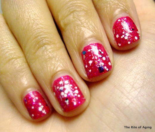 "Zoya ""Kissy"" and SerumNo5 ""Happy Special Day"" over China Glaze ""Fuchsia"""