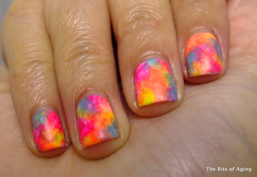 Neon Watercolor Halloween Nail Art | Monica with RA Easy, Fast, Arthritis- Pain- Friendly Nail Polish Technique with Seche Vite, Color Club, Milani