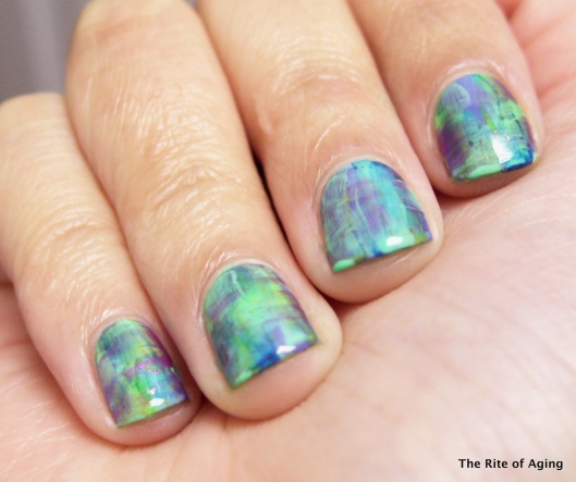 Blue/Green Distressed Nails | The Rite of Aging