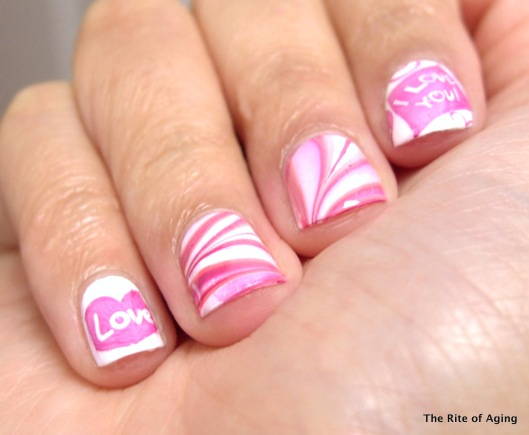 Watermarble and Stamping Valentine's Day Nail Art | The Rite of Aging