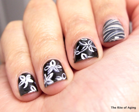Freehand and Watermarble Nail Art | The Rite of Aging