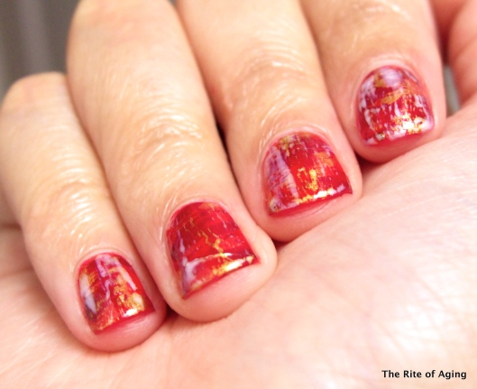 Distressed Nail Art for Chinese New Year | The Rite of Aging