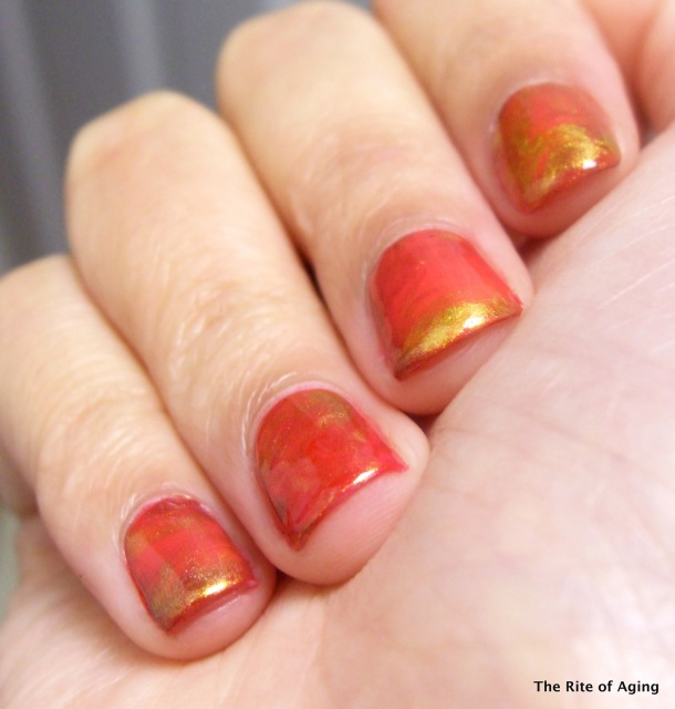 Plastic Bag Marble Nail Art - Red Coat Tuesday | The Rite of Aging