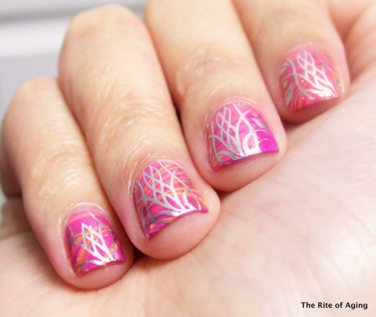 Pink Watermarble and Silver Stamping Nail Art | The Rite of Aging