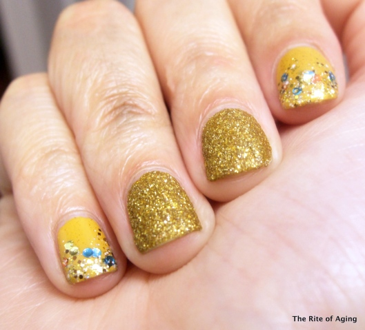 Gold Glitter Nail Art | The Rite of Aging