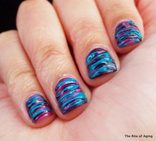 Purple & Teal Sugar-Spun #nailart | The Rite of Aging