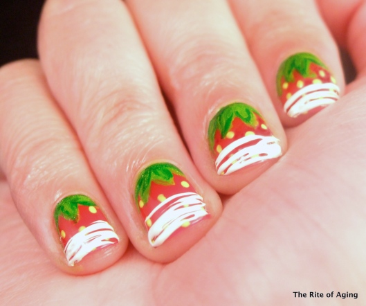 Chocolate Drizzle #sugarspin Strawberry #nailart | The Rite of Aging