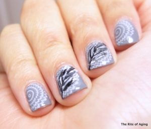 Stamping and Feather Nail Art | The Rite of Aging