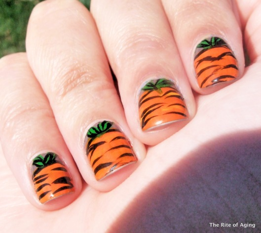Easter Carrot Acrylic Paint Nail Art | The Rite of Aging