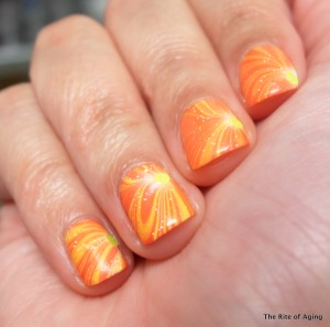Neon Watermarble with Glitter Accents | The Rite of Aging