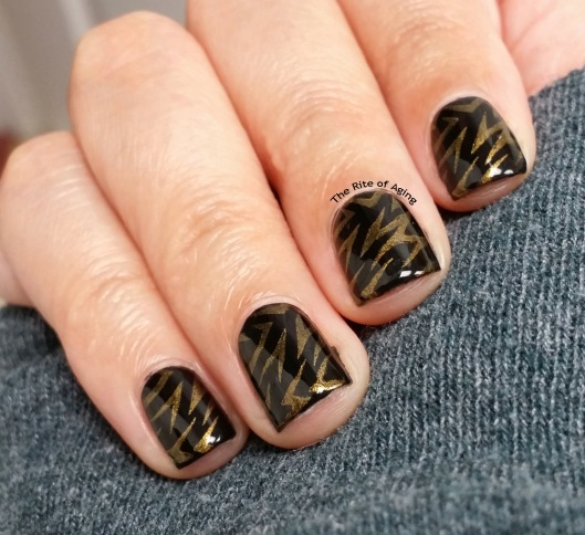 #OMD3Nails Black and Gold Stamping Nail Art | The Rite of Aging