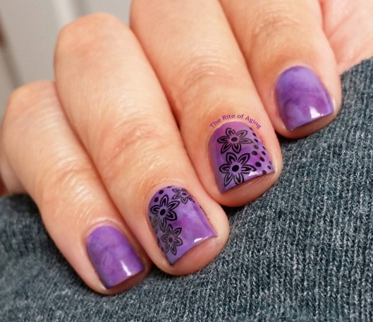 Purple Watercolor and Floral Decal Nail Art | The Rite of Aging