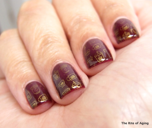 Red and Gold Gradient Stamping Nail Art | The Rite of Aging