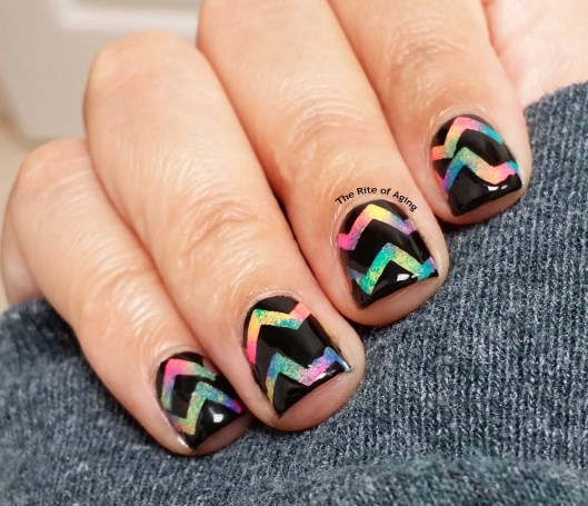 #OMD3NAILS - Neon V Pattern Nail Art | The Rite of Aging