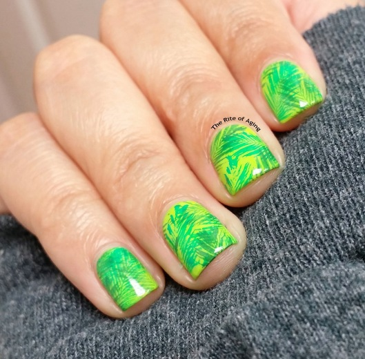 #OMD3NAILS - Stamped Neon Leaves Nail Art | The Rite of Aging
