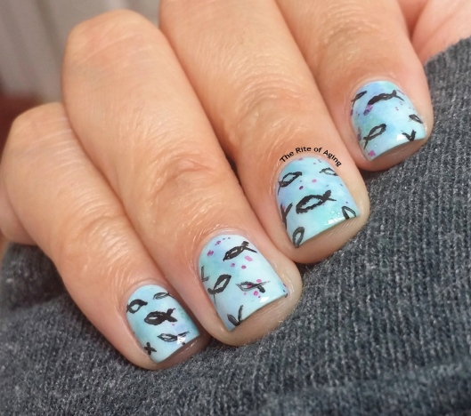 #OMD3NAILS - Watercolor and Freehand Fish Nail Art | The Rite of Aging