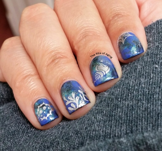 #OMD3NAILS - Ocean Watercolor and Stamping Nail Art | The Rite of Aging