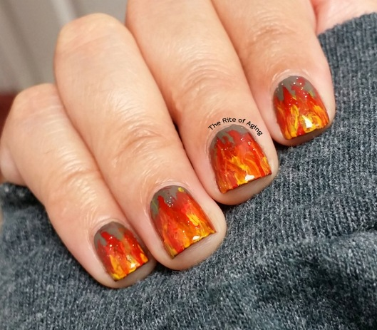 #OMD3NAILS - Freehand Flames Nail Art | The Rite of Aging