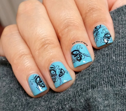 #OMD3NAILS - Butterfly Wings Stamping and Water Decal Nail Art | The Rite of Aging