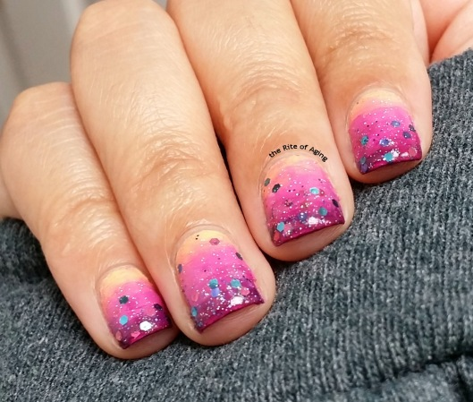 #OMD3NAILS - Brushed Gradient and Glitter Nail Art | The Rite of Aging