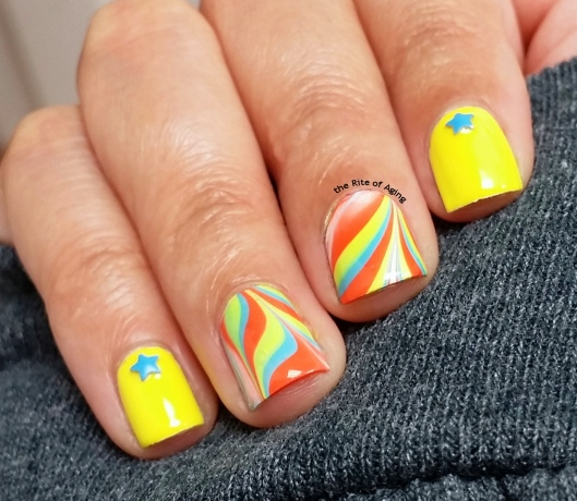 Circus-Inspired Neon Watermarble Nail Art | The Rite of Aging