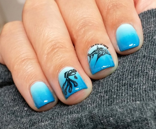 Under the Sea Blue Gradient Nail Art | The Rite of Aging