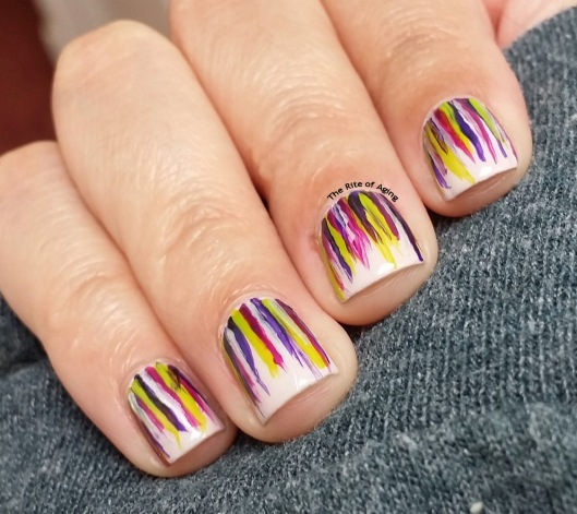 Purple & Green RA-friendly Waterfall #NailArt | The Rite of Aging