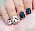 #31DC2015 - Black and White Glitter Nails   The Rite of Aging