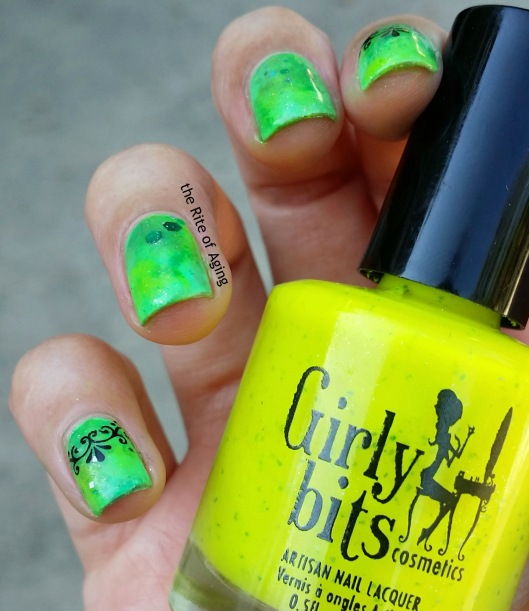 #31DC2015 - Half Moon Watercolor and Decal Nail Art