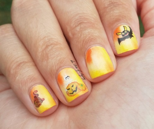 Candy Corn Sponging and Decals Nail Art | The Rite of Aging
