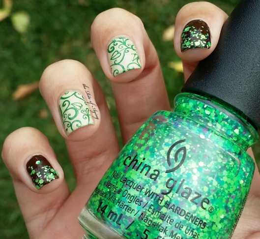 Green Leaves Stamping Nail Art & Video Tutorial | The Rite of Aging
