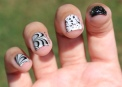 #31D2016 - Black and White Watermarble Nail Art