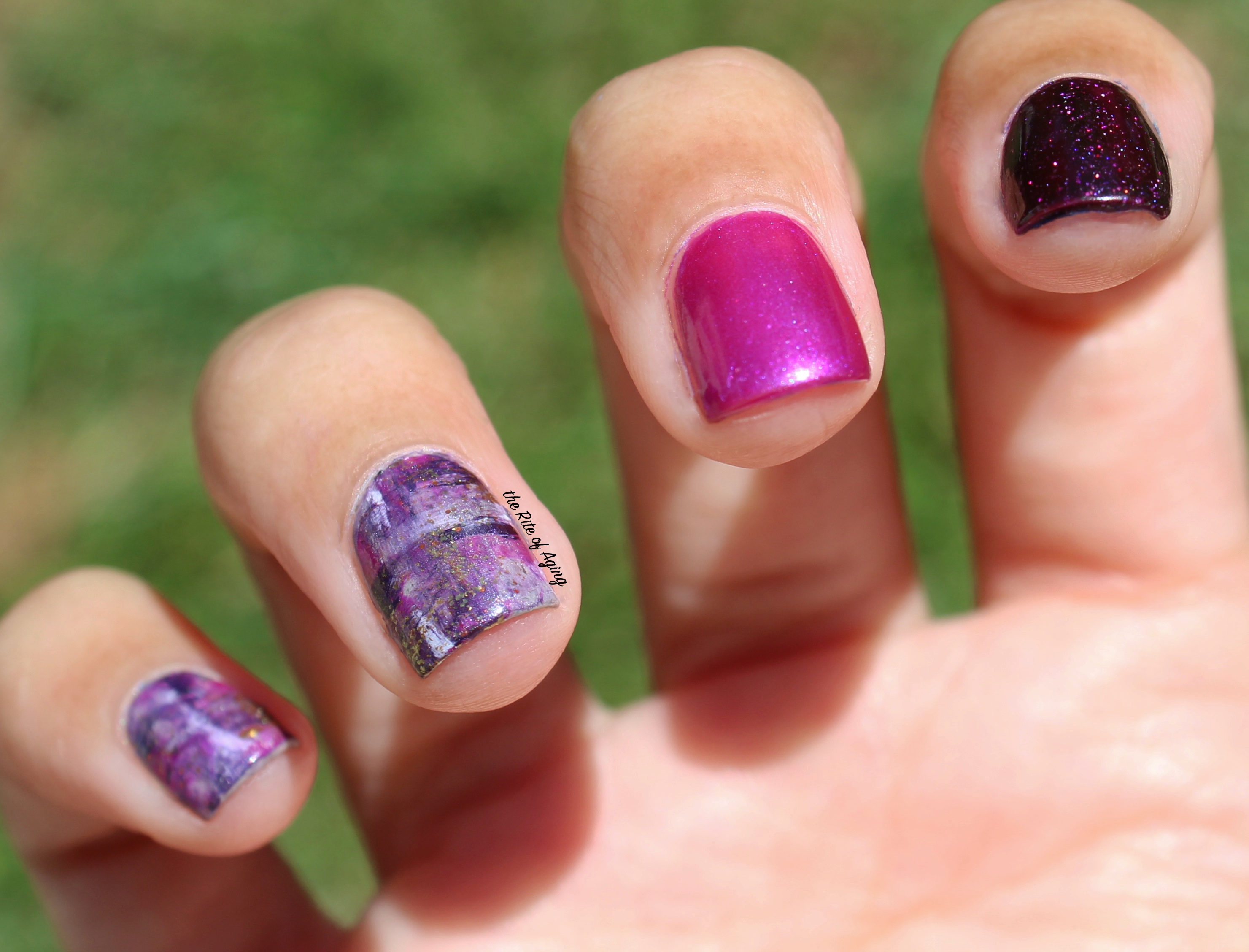 31 Day Global Nail Art Challenge (September 2017 - #31DC2017) Day Six: Purple Plaid Watercolor Nail Art