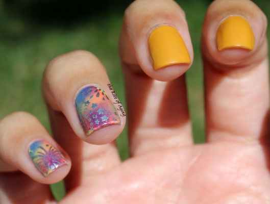 31 Day Nail Art Challenge (September 2017 - #31DC2017) Sponged and Stamped Rainbow Nail Art