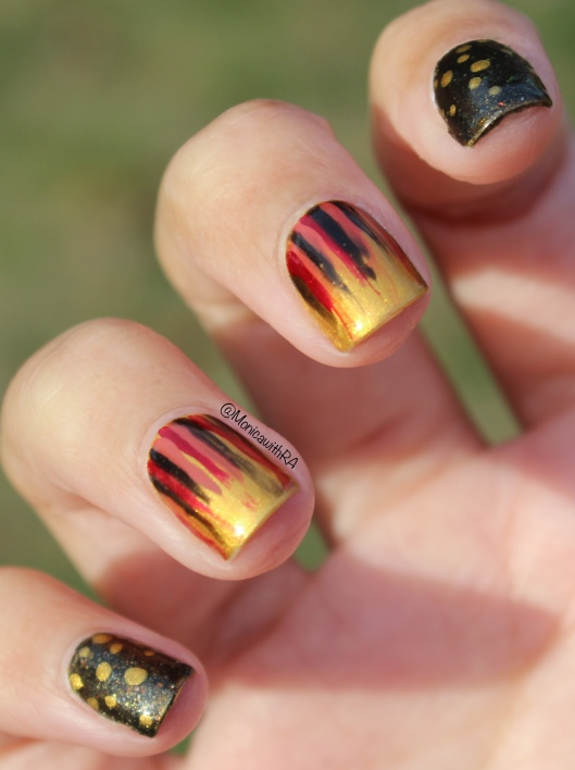 A Very Autumnal Waterfall Nail Art ft. Zoya Goldie, Sephora by OPI 212-Sephora