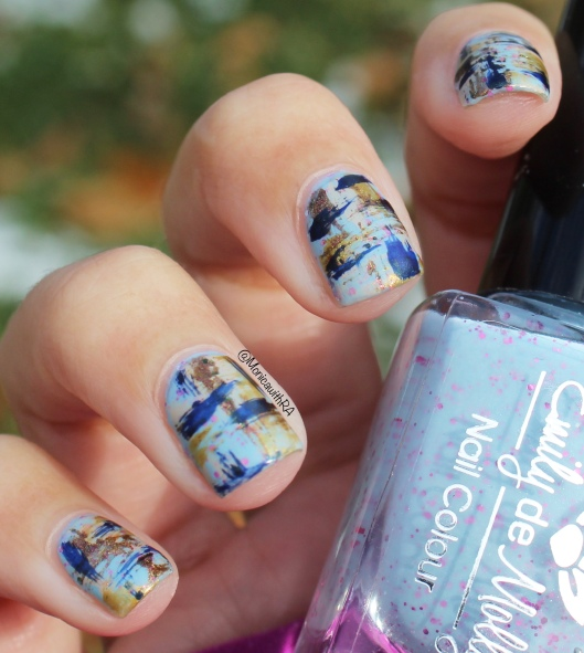 Icy Cold Abstract Brushstrokes Nail Art || the Rite of Aging...Early blog (Easy, Arthritis-Friendly, Fast)