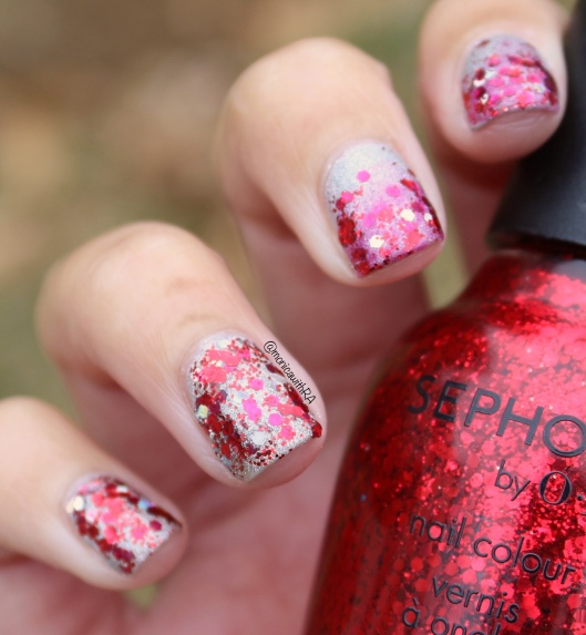 Go Red for Women 2018 Red and Pink Glitter Gradient Nails ft. Sephora by OPI, Milani