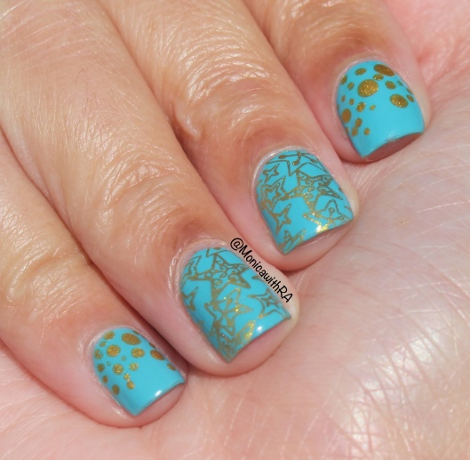 Robin's Egg Blue and Gold Stamping Nail Art featuring Born Pretty Store and Zoya Rocky