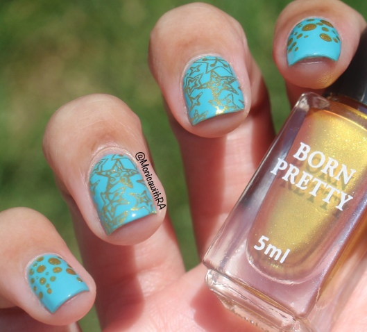 Robin's Egg Blue and Gold Stamping Nail Art featuring Born Pretty Store and Zoya