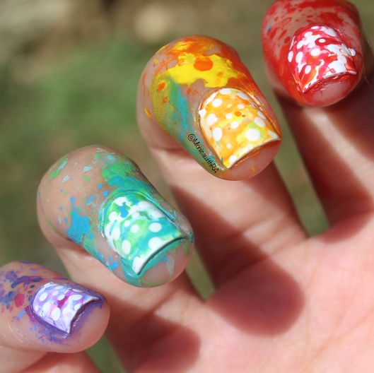 #31DC2018 - 31 Day Nail Art Challenge 2018 Rainbow Splatter Nails ft. Essie Polish