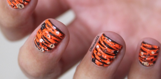 Halloween Orange and Black Sugar-Spin Nail Art with Formula X Glitter (ft. Zoya and Color Club Nail Polish)