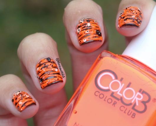 Halloween Orange and Black Sugar-Spin Nail Art with Formula X Glitter (ft. Zoya and Color Club Nail Polish)