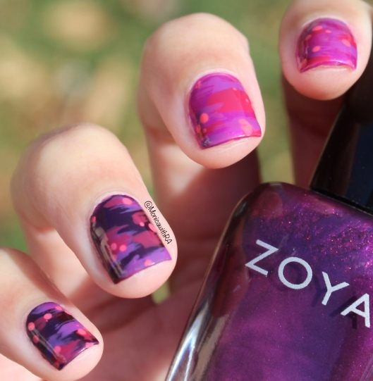 Easy Abstract Valentine Dry Brush Nails ft. Sally Hansen Miracle Gel, Insta-Dri, Zoya and Sephora by OPI Nail Polishes