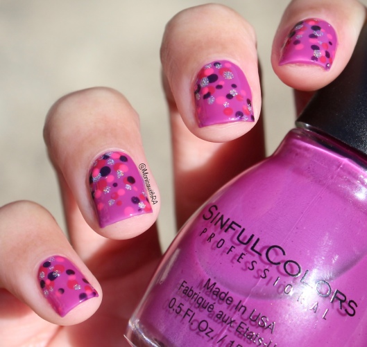 Valentine's Day Easy Purple Asymmetrical Freehand Dotticure featuring SinfulColors, OPI, Zoya, Color Club and Pipe Dream Nail Polishes