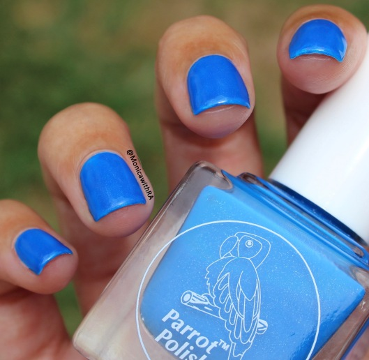 Parrot Polish 2018 Welcome to the Jungle collection Blue Baboon Neon Blue Shimmer Nail Polish