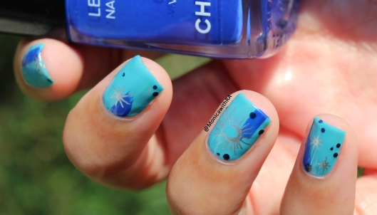 August Blues Arthritis-Friendly Easy Dry Brush Nail Art ft. Zoya Rocky, Chanel Les Vernis Vibrato and Born Pretty Store stamping plates