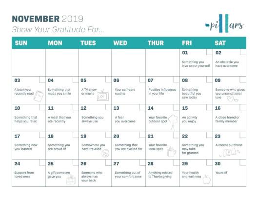 gratitude november calendar 2019
