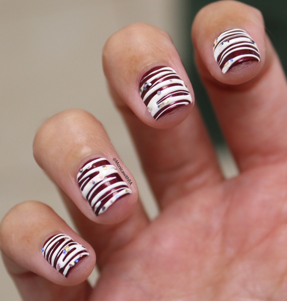 Red Velvet Cupcakes with Sugar-spin Frosting Nail Art, Sugar Spin Nail Art with Wet n Wild and Zoya Nail Polishes | Monica with RA Rheumatoid Arthritis Blog